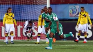 Bokiri, en un partido con la selección de Nigeria.
