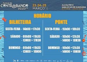 Horarios para cruzar el puente (horario portugués).