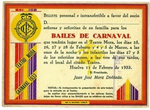 Invitación a un baile de Carnaval en tiempo republicano (Gentileza de Antonio Brioso, entusiasta de la historia de Huelva)
