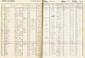 Libro de registro del Gran Hotel La Perla (Pamplona), junio 1934. Se señalan los datos de registro de Margarita Stein. (Cortesía de Fernando Hualde).