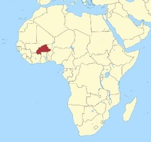 Localización en África de Burkina Faso.