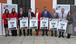 Un momento de la presentación del Europeo de bádminton que tendrá a Huelva como sede.