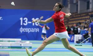 Carolina Marín ganó sin problemas su partido y dio a España el primer punto en el duelo ante Eslovaquia. / Foto: Badminton Photo.