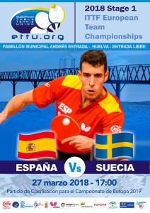 Cartel anunciador del duelo España-Suecia en Huelva, clasificatorio para el Europeo de tenis de mesa.