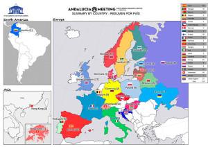 Mapa que recoge la procedencia de los participantes en el 'Andalucía Orientación Meeting' de Punta Umbría.