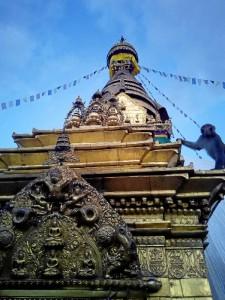El conocido como Templo de los monos, en la ciudad de Katmandú, Nepal.