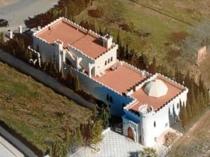 Vista aérea de su casa, en Hinojos.