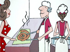 PINTURA MOSTRADOR churros Los Calentitos en Alemania
