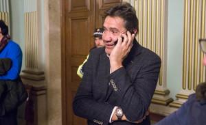 Un emocionado Manolo Zambrano, presidente del Recre, estuvo presente en el histórico Pleno.