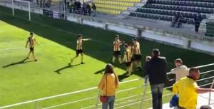Los jugadores del San Roque celebran el cuarto gol, obra de Higor Rocha de penalti. / Foto: @Aurinegro1956.