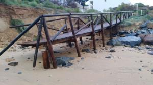 Daños causados por el temporal en las playas onubenses.