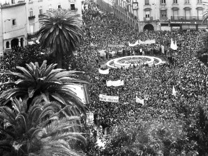 Impresionante vista de la Plaza de las Monjas y aledaños, el 3 de marzo de 1988. / Foto: Muguruza.