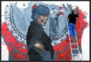 Uno de los trabajos más recientes del artista afincado en Aracena: pintura mural de gran formato en Gemona de Friuli, Italia.