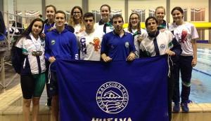 Componentes del CN Huelva en el Campeonato celebrado en Cádiz.