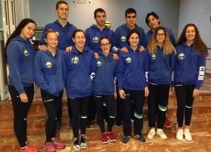 Formación del Club Natación Huelva en el Campeonato de Andalucía Absoluto y Júnior Open.