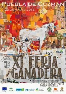 Cartel promocional de la XI Feria Ganadera de la Puebla de Guzman, que se celebrará del 23 al 25 de marzo.
