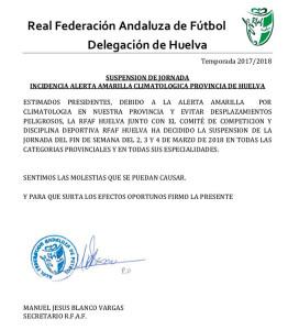Comunicado de la Delegación en Huelva de la RFAF sobre la suspensión de la jornada de fútbol. / Foto: @FOF_OFICIAL.
