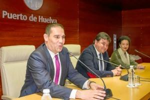 Rueda de prensa celebrada en la sede de la Autoridad Portuaria de Huelva.
