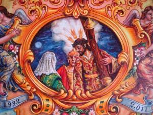Motivo central del Pergamino de Don Fabian Tello Miranda Capataz del Señor de las Tres Caidas de Huelva.