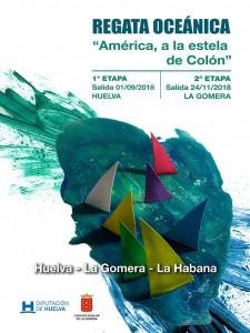 Cartel de la prueba que tendrá lugar entre Huelva y La Gomera, y luego entre la isla canaria y La Habana.
