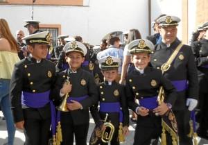 Los pequeños músicos de la Banda del Nazareno.