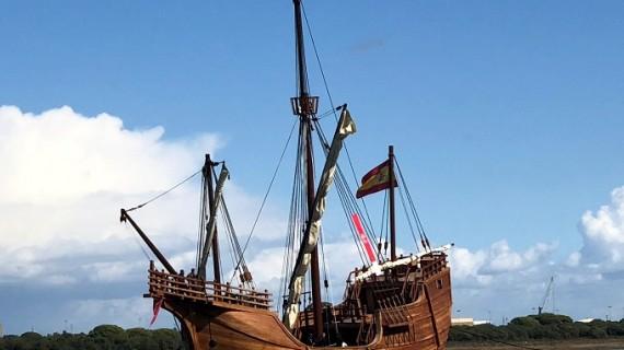 Última recalada de la Nao Santa María en el Puerto de Málaga antes de su partida a América en noviembre