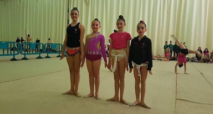 Cuatro de las gimnastas del GR Huelva en el Campeonato de Andalucía Base 2018.