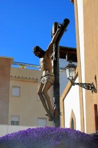 Santísimo Cristo de la Sangre a la salida de su templo.