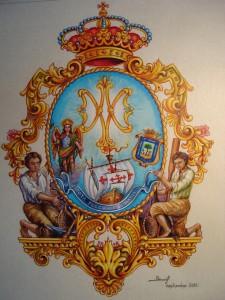 Escudo original de la Asociacion Pro-Hermandad Filial de la Virgen de la Bella de Lepe, establecida en la Parroquia de San Rafael Arcángel de la Ciudad de Huelva