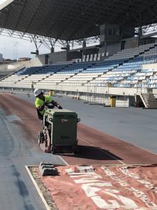 Obras en el Estadio Iberoamericano de Atletismo.
