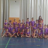 Hay medio centenar de niñas que practican gimnasia rítmica.