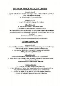 Programación de actividads de la Verbena Popular, que tendrá lugar los días 20, 21 y 22 de abril.
