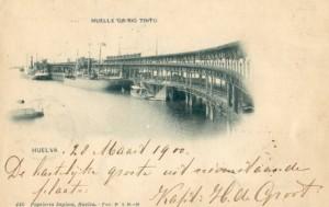 Tarjeta postal, circulada en 1900, del Muelle de Riotinto.