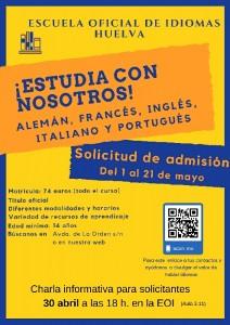 Cartel promocional de la EOI de su II Jornadas de Inmersión lingüística.