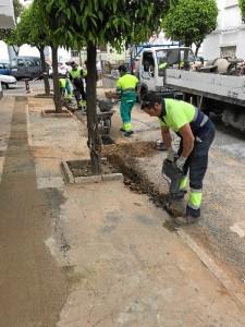 Nueva pavimentación en la calle Docampo, barriada de las Adoratrices.