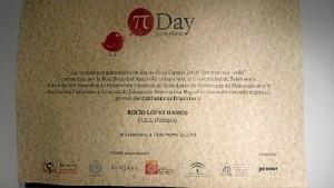 Diploma con el premio otorgado a Rocío.