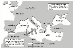Mapa del engaño diseñado por los aliados para invadir Sicilia (elaborado por Enrique Nielsen).