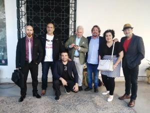 El equipo de 'The rebirth of the soul' en el Museo de Huelva.