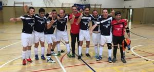 Satisfacción en los componentes del Isla Saltés FS después de confirmar el ascenso a la Primera División.