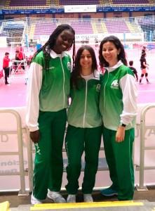 Las representantes del voleibol onubense en el torneo que se celebra en Valladolid.