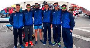 Componentes del Real Club Marítimo de Huelva en la prueba celebrada en Avilés.