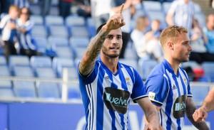 José Carlos Lazo abrió el marcador con un gol con algunas dosis de fortuna. / Foto: Pablo Sayago.