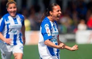 Anita celebra uno de los goles que anotó ante el Madrid CFF. / Foto: www.lfp.es.