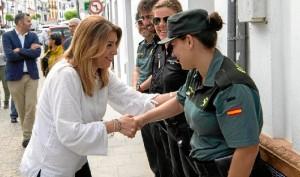 """Susana Díaz, durante su visita a Puebla de Guzmán, ha destacado que Andalucía está en condiciones de dar un """"salto histórico"""", tras el que ya dio en 1992."""