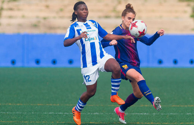 Joe Bokiri, muy contenta por renovar una temporada más con el Sporting. / Foto: www.lfp.es.