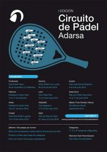 Cartel I edición del Circuito de Pádel Adarsa.
