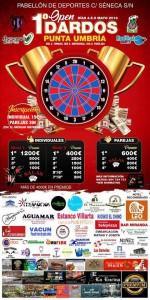 Cartel del Campeonato de dardos que se celebra en Punta Umbría.