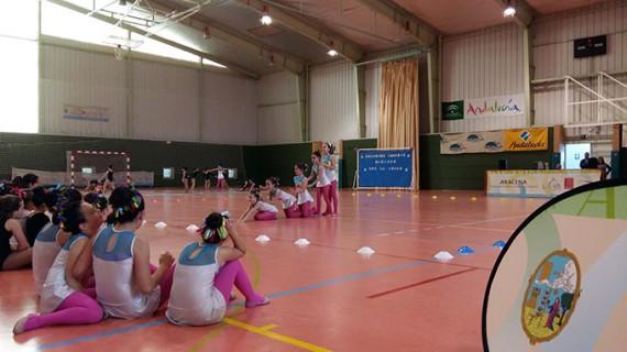 Unas 80 gimnastas llenaron de figuras y colores el pabellón deportivo de Aracena
