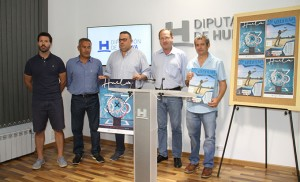 Un momento de la presentación en la Diputación Provincial de Huelva de los  circuitos de 3x3 de baloncesto y de vóley playa.