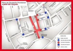 Plano de la nueva dirección del tráfico en Moguer a causa de las obras.